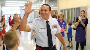 Wounded veteran Staff Sgt. Johnnie Yellock II at Adkins Elementary School in Lantana.