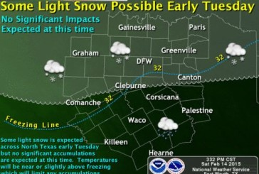 Very light snow possible Tuesday