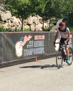Payten Maness, a junior at Flower Mound High School, competes in the USA Cycling National Championship road race in June (Photo Courtesy: Scott Maness)