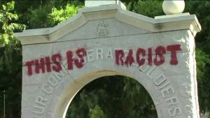 A statue memorializing Confederate soldiers from Denton County, TX was defaced early Monday morning (Photo Courtesy: CW33.com).