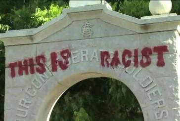 Confederate soldier statue in Denton defaced