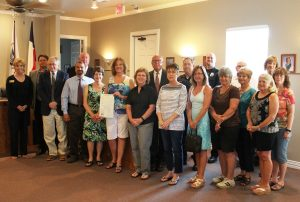 At a recent Double Oak Town Council meeting, town officials joined with the Double Oak Police and Volunteer Fire Department to thank the Double Oak Women's Club for more than 40 years of civic service and presented a joint proclamation that declared Tuesday, June 16, 2015 as Double Oak Women's Club Appreciation Day.