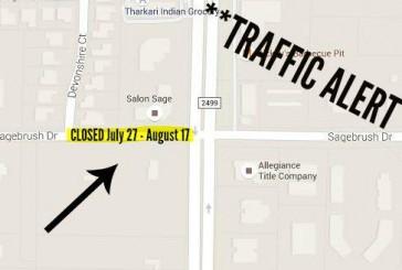 Sagebrush Drive closure starts Monday