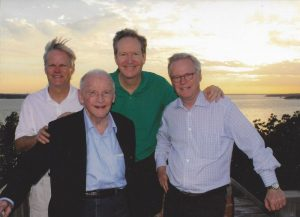Members of the Stewart family at the site of the future Pearl on the Peninsula Hotel and Conference Center on Grapevine Lake. Left to right: Alan Stewart, Peter Pauls Stewart, David Stewart and Peter Stewart.