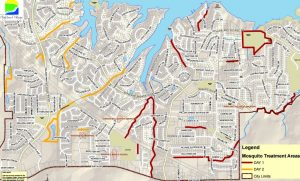 Mosquito spraying map for the City of Highland Village (Photo Courtesy: City of Highland Village)