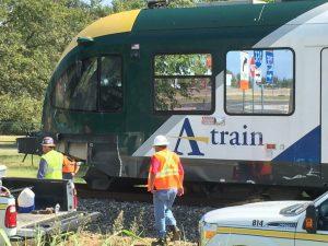 Train vs truck on tracks near Lake Dallas (Photo Credit: Roger Young).