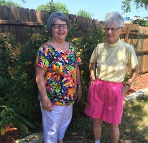 Jane Thompson, president of the Flower Mound Gardening Club,  and Helen Munro who is serving as the group's treasurer (Photo Credit: Jane Thompson).