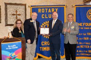 Mary Ann McDuff district governor- elect; Troy Secord, district 5790 governor; Andy Eads, Cross Timbers president; and Gerald Robinson assistant district governor (Photo Courtesy: Cross Timbers Rotary Club).