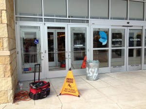 Clean up at Belk department store in Flower Mound on Friday morning.