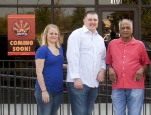 Team Taco Ocho: April Walters, Assistant Manager; Michael Odell, Manager; and founder Mani Bhushan.