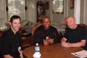Texas Health Presbyterian Hospital Flower Mound Executive Chefs Bret Savant and Andre Warren with columnist Bob Weir.