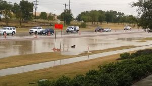 Flower Mound police briefly blocked off southbound FM 2499 at Lakeside Parkway on Friday morning due to high water.