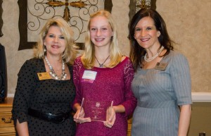 Downing Middle School 8th grader Chloe Bjornberg (center) was named the Flower Mound Chamber of Commerce's October Student of the Month.