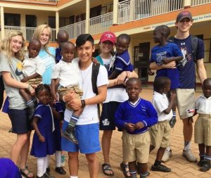 Liberty Christian students and their new friends in Uganda.