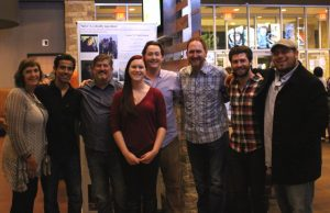 """Not Me"" crew: (left to right) Kathy O'Keefe, Executive Director of WTF and Executive Producer; Cesar Jasso, Producer; Jeff Graves, WTF Board, Producer; Rebekah Bermudez, youth interviewed in film; Benton Bagot, Producer; Peter Brakner, Father interviewed in film; David Redish, Director; and Scott Payne, Gaffer."