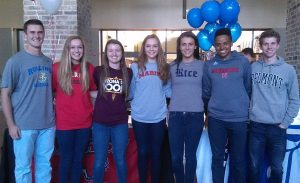 Excited to play their sport in college: Christian Julius, Hannah Hand, Sydney Goodson, Rebekah Hand, Kendall Ellig, Givon Washington, and Ryan Teague.
