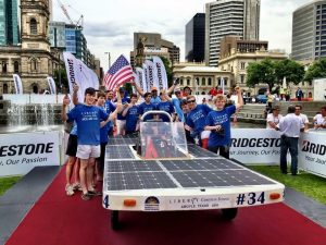 Liberty Christian's Solar Car Team at the finish line in Victoria Square in downtown Adelaide, Australia.