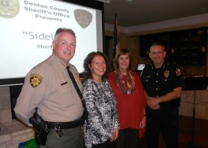 Sheriff Will Travis,  Juvenile Court Judge Kimberly McCary, Kathy O'Keefe and Flower Mound Police Chief Andy Kancel. (Photo by Netsky Rodriguez.)