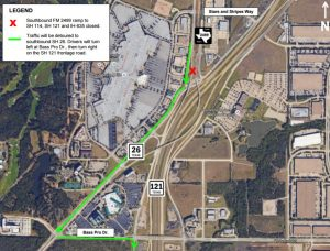fm 2499 weekend closure 11-14-15