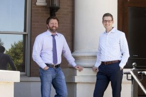 Jason Adams, Managing Partner at Day One Consulting LLC, and Mark Wood, Flower Mound's Director of Economic Development, are partnering to innovate at Parker Square. (Photo by Helen's Photography)