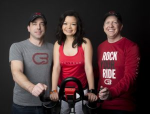 Cyclebar owners James Moller, Katherine Faubion, and Shelby Faubion.