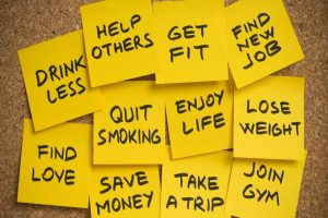 new years resolutions postits