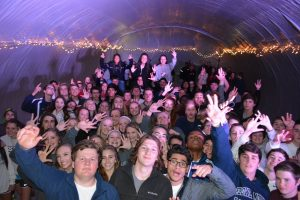 """Young Life Club members have a blast in their plastic party dome at a """"Clubble."""""""