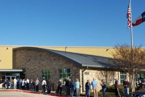 Long lines formed for early voting on Friday at the Flower Mound Police and Court Building. (Photo courtesy Kevin Bryant)