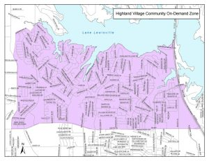 DCTA Community On-Demand Zone Map
