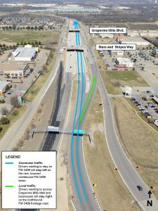 The new traffic pattern following Wednesday morning's opening of the new northbound lanes of FM 2499.