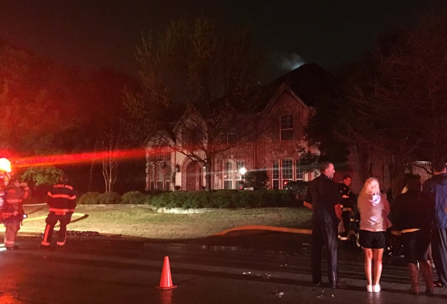 House fire caused by lighting strike on Prince Edward Ct. in Flower Mound.