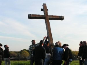 Volunteers from the Summit Club and The Village Church Bible Study group met on Saturday morning to put up crosses on The Flower Mound for the annual Easter Sunrise Service.