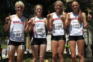 Marcus High School's Ryan Gossett, Ashton Hutcherson, Quinn Owen, and Maddy Reed won the 4X800 relay on April 2 at the Texas Relays in Austin with a time of 9:11.17. They broke their school record by 7 seconds, set a new stadium record and are currently ranked number one in the nation.