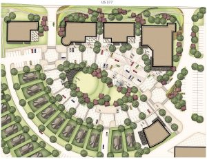 Waterbrook Retail Center and Village Green concept plan with amphitheater in the middle.