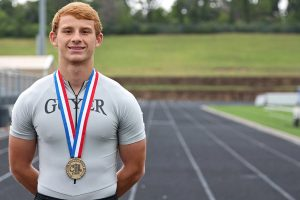 Guyer High School senior Ethan Toy won the University Interscholastic League's 6A long jump championship on May 14.