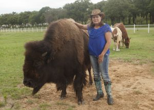 Mari Beth Connor of Flower Mound and her new pet, Bullet the bison. (Photo by Helen's Photography)