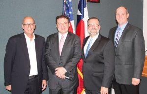 Flower Mound council members Bryan Webb, Mayor Tom Hayden, Don McDaniel and Jason Webb.