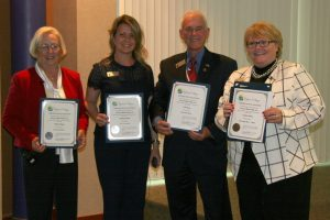Newly elected Council members Barbara Fleming, Michelle Schwolert, John McGee and Mayor Charlotte Wilcox.