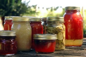 canning jars with various foods