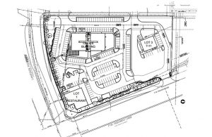 Site plan for 7-Eleven at the southeast corner of FM 2499 and Lakeside Parkway.