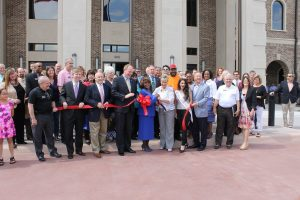 County officials, city officials, Lewisville Area Chamber of Commerce members and others were on hand to cut the ribbon Friday afternoon for the new $9 million Pct. 3 Government Center, located at N. Valley and Civic Circle.