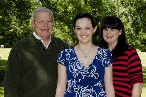 Scholarship winner Rebecca Powell, with parents Mark and Wendy Powell.
