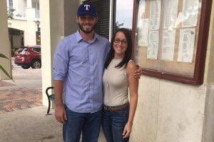 Steven Bruce and his fiancée, Bayli.