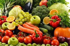 assorted raw organic vegetables fruit