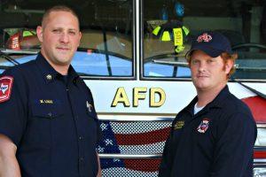 Deputy Chief Michael Lugo and Lt. Chris Muscle of the Argyle Fire District. (Photo by Pamela Arrington, Argyle ISD PR)