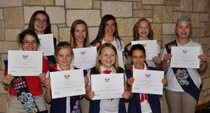 Lleft to right, top row: Meredith House, Bronze; Claire Bryant, Bronze; Hope Reid, Bronze; Grace Dahlstrom, Bronze; and, Claire Woodard, Gold. Bottom row (left to right) are: Annette Minear, Silver; Elise Gordon, Gold; Aubrie Condra, Bronze; and, Lily Reid, Bronze.