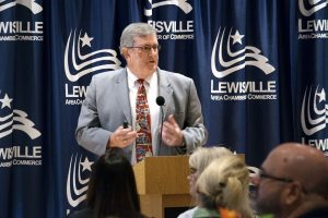 Superintendent Kevin Rogers speaks at a chamber luncheon to give financial updates for LISD. (Photo by Christina Ulsh)