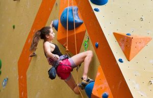 Lauren Bair at a Sport Climbing competition.