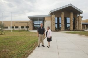 Argyle Middle School principal Scott Gibson and AISD Superintendent Telena Wright are ready to welcome students to the district's new middle school. (Photo by Helen's Photography)