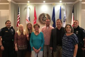 Double Oak Intern Alicia Byers (third from left) with town employees.